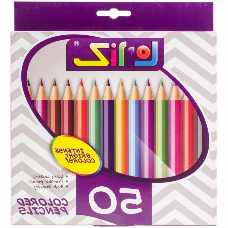 50 Color Pencil Set For Adult Coloring Books Drawing Art Hob