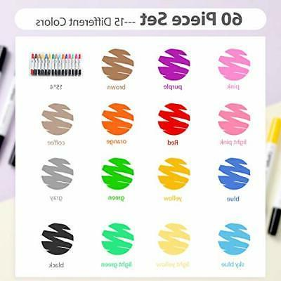 60 Markers Pen Dual Tips Colors