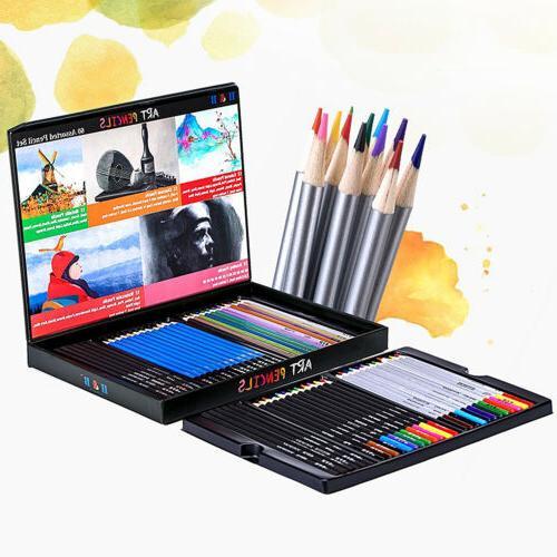 60pcs Professional Watercolor Colored Pencils SET Drawing Pa