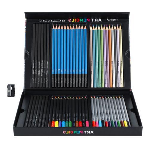 60pc Art Colored Pencils Professional Set Sketching Kit