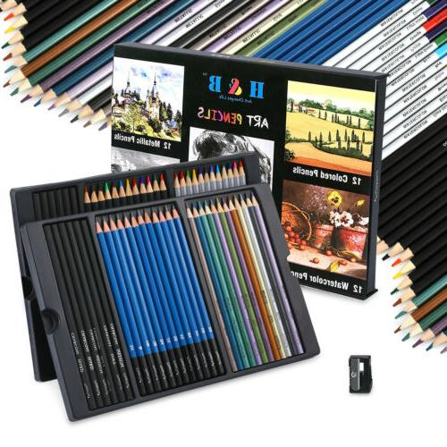 60pc Art Colored Pencils Professional Drawing Set Sketching Kit