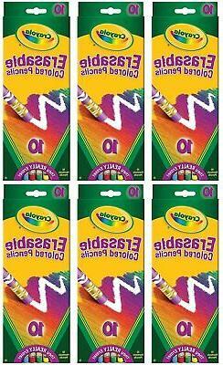 Crayola 68-4410 Erasable Colored Pencils 10 Count - 6 Pack