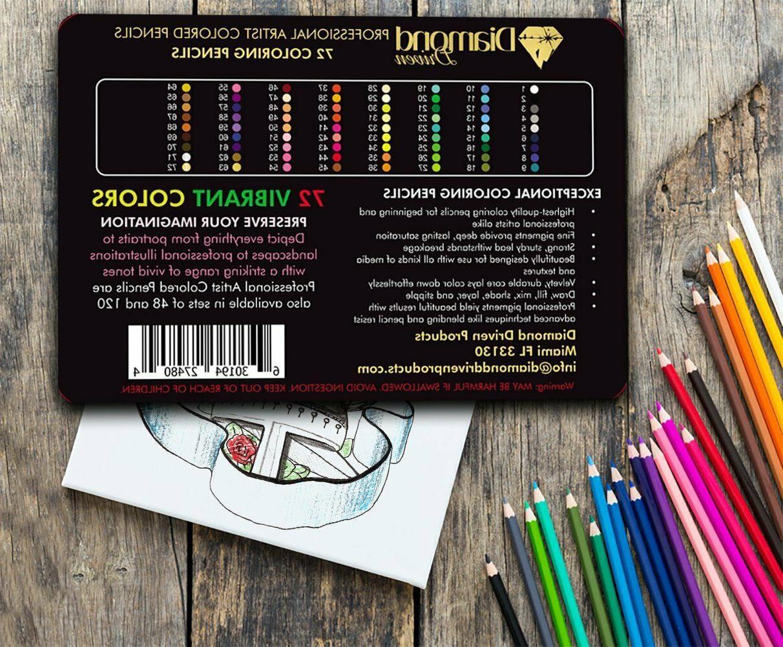 72 Colored Pencils Platinum Artist Paint Tin