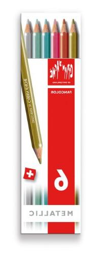 Caran d'Ache Fancolor Color Pencils, 6 Metallic Colors