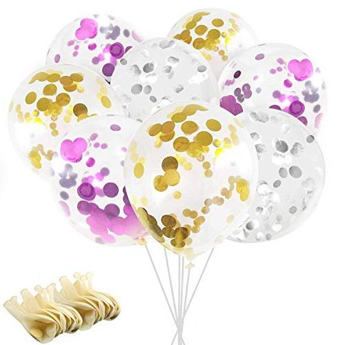 "Confetti Balloons, Ohuhu 12"" Party Balloons W/Golden Silver"