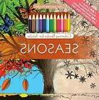 Seasons Adult Coloring Book Set With 24 Colored Pencils And