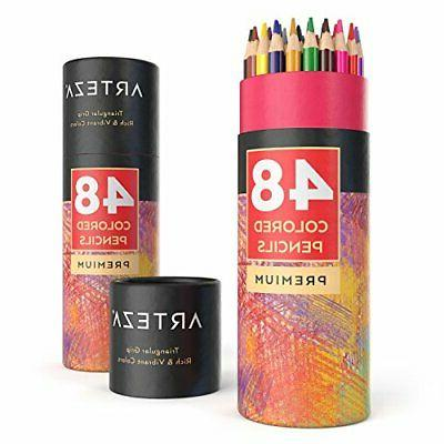 ARTEZA Colored Pencils Set of 48 Colors with Color Names, Tr