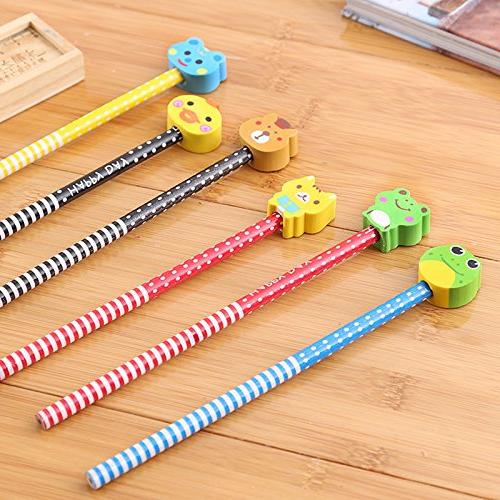 Etmact Pack Colorful Animal Pencil With Dot & Stripe Eraser Topper