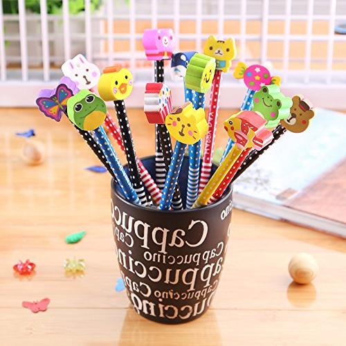 Etmact With Novelty & Stripe Topper Kids Pencils