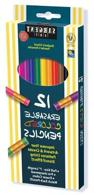 Sargent Art 22-7203 Assorted Erasable Colored Pencils, 12 Co