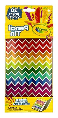Crayola Collectible Pencil Tin Set, 30 Short Colored Pencils