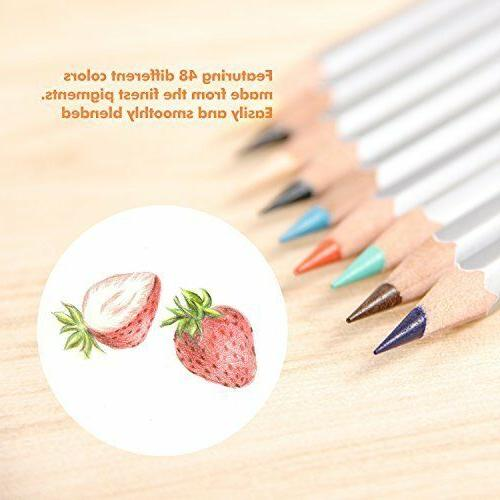 Color Pencil Set Sketch High Drawing Recycled Wood 48 Colors