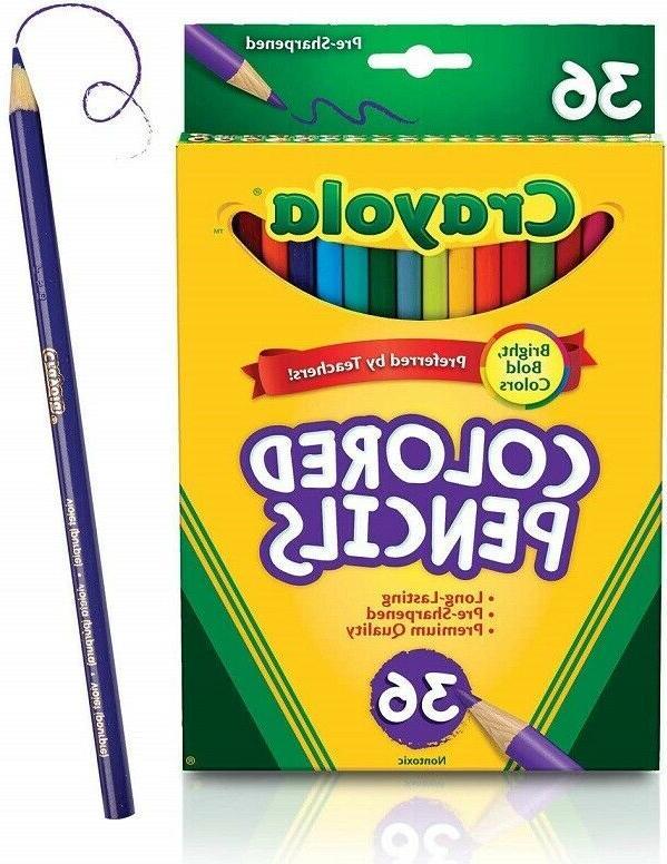 colored pencils set school supplies presharpened 36