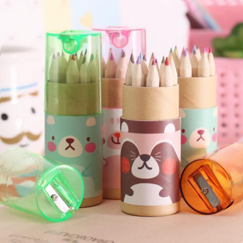 Cute Mini Bear Cartoon Colored pencils Drawing Set With Penc