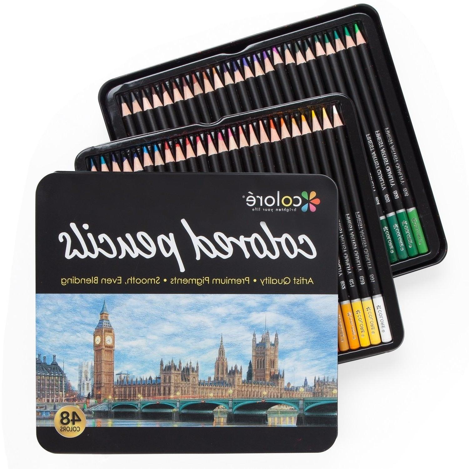 Colore Colored Pencils - 48 Premium Pre-Sharpened Color Penc