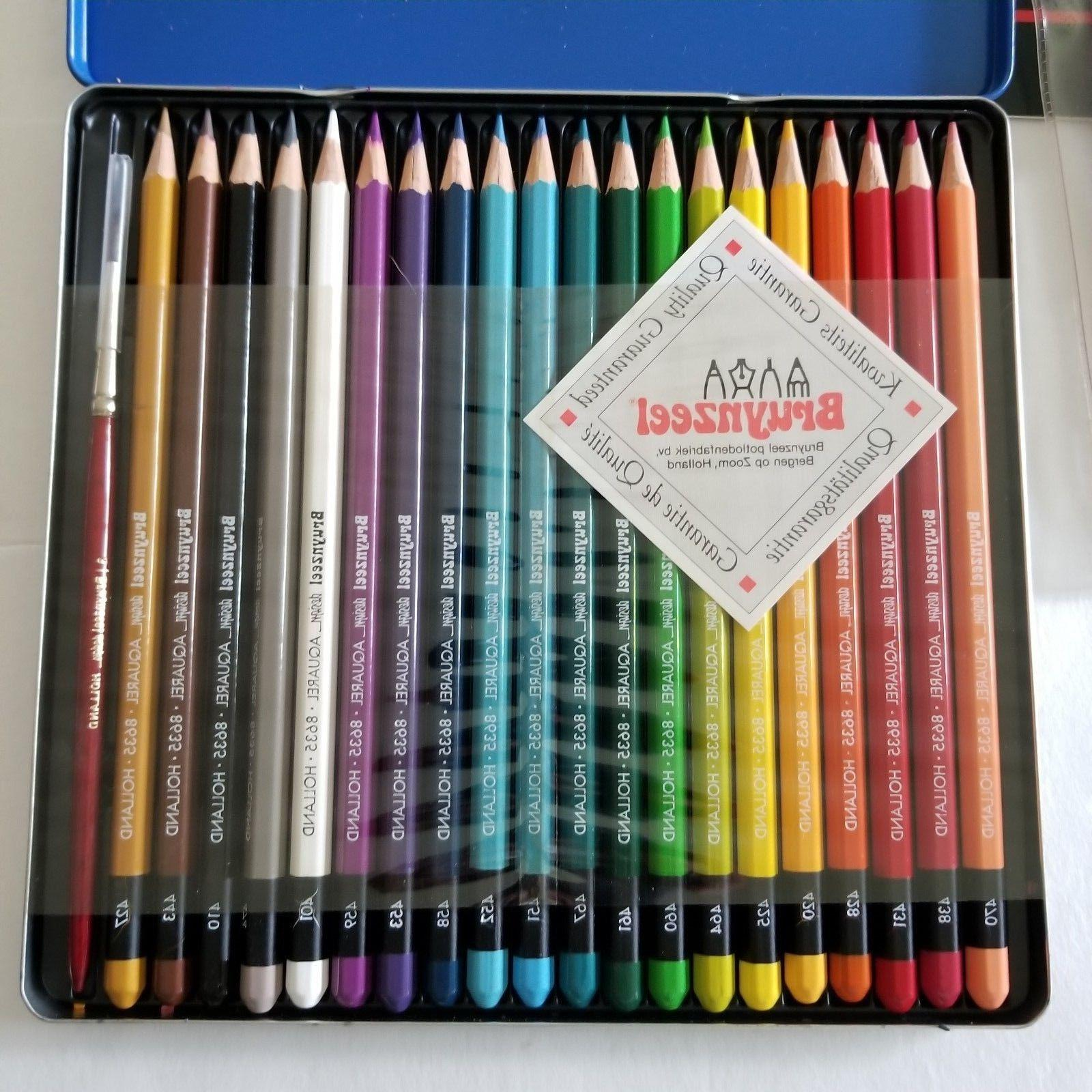 Bruynzeel Design Aquarel Colored Pencils Kit Brushes Art