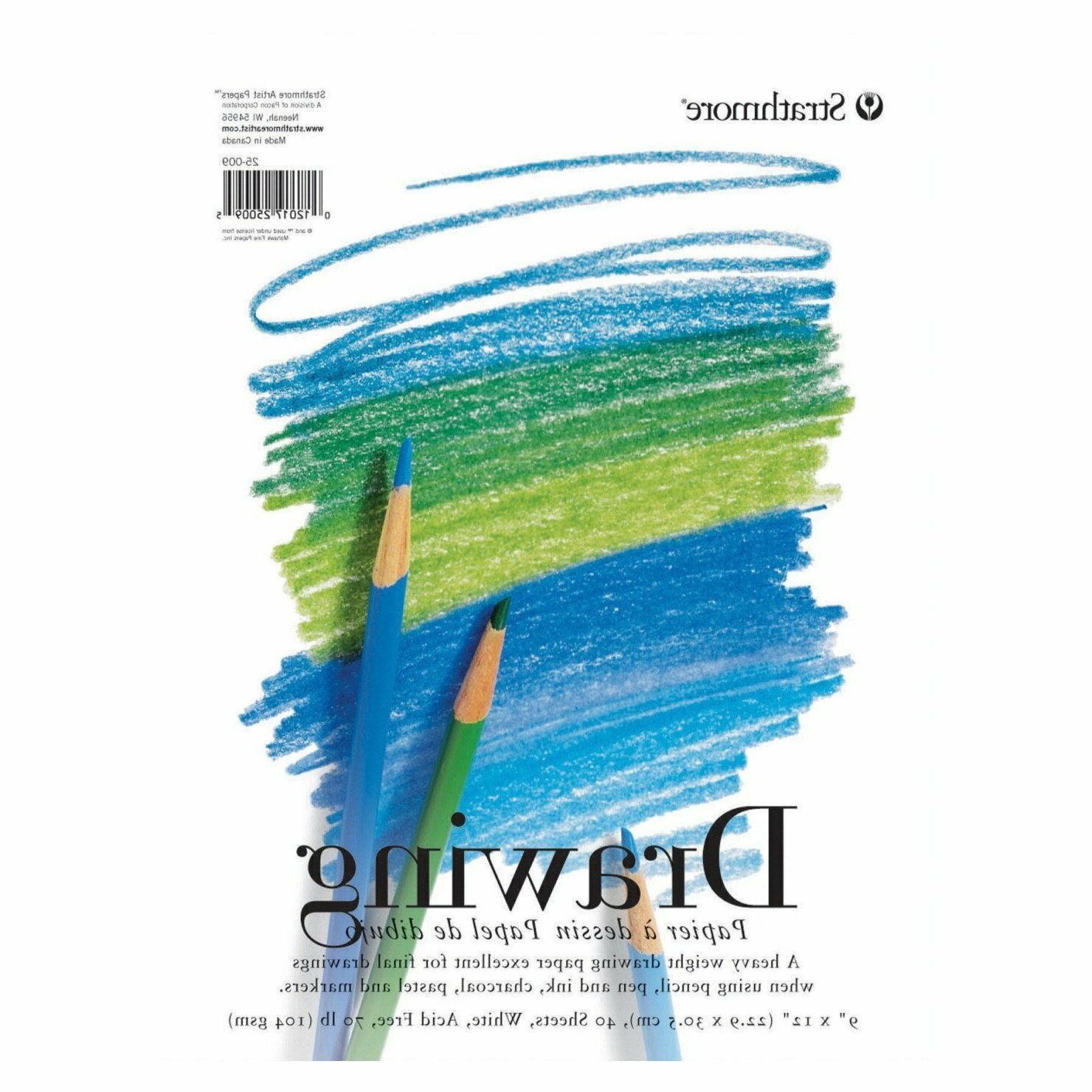 Drawing Paper Pad 9 x 12 40 Sheet 70 lb Colored Pencil Marke