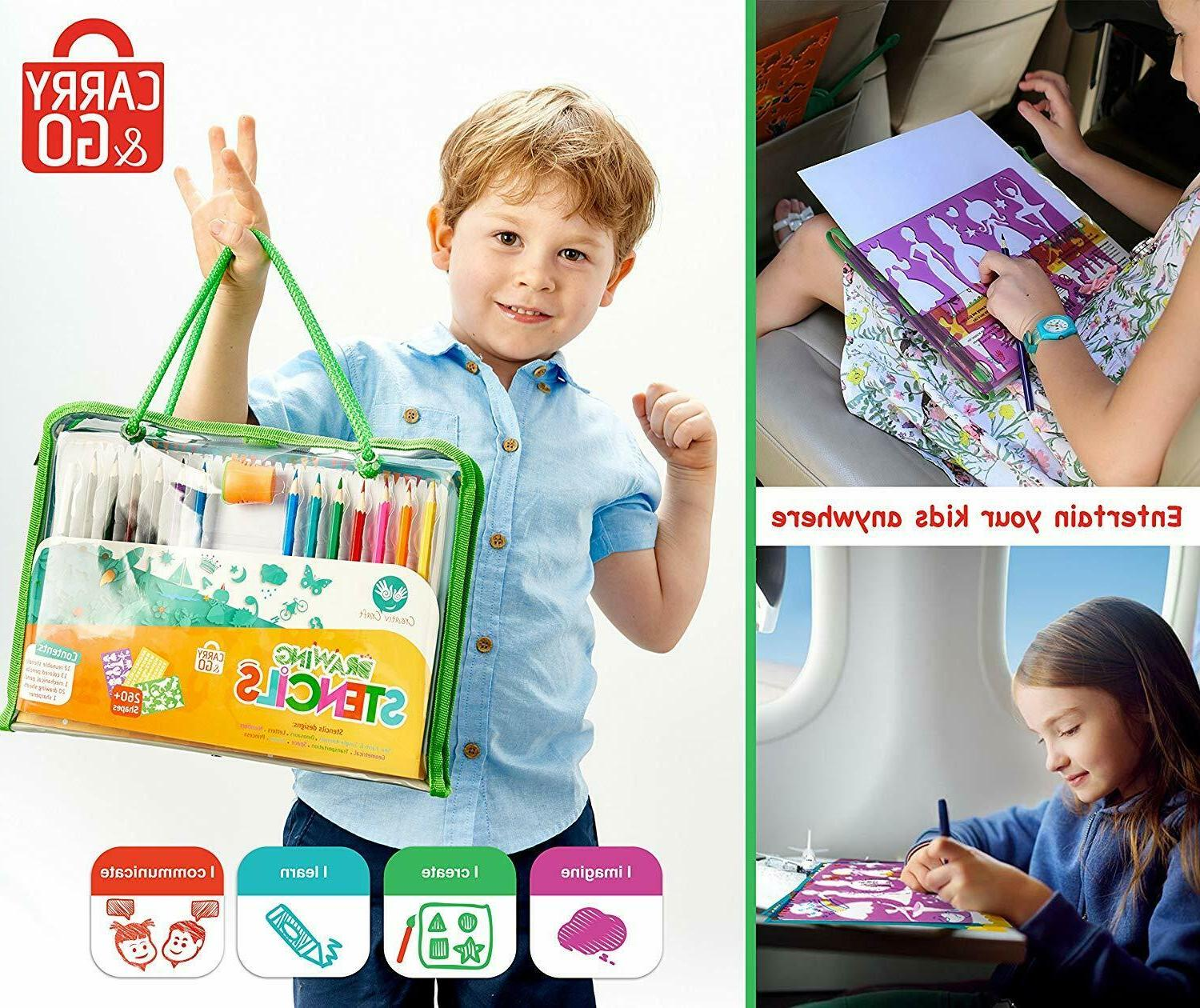 Drawing Stencils and Colored Pencils and Crafts Set, D