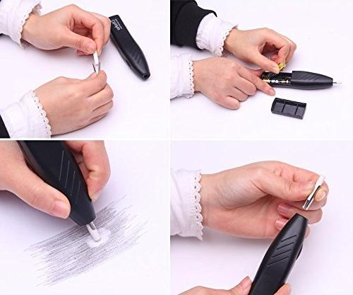 Ohuhu Electric with Eraser Auto Erasers for Drawing, Sketching, Architectural and Crafts,Battery Operated Pencil Eraser