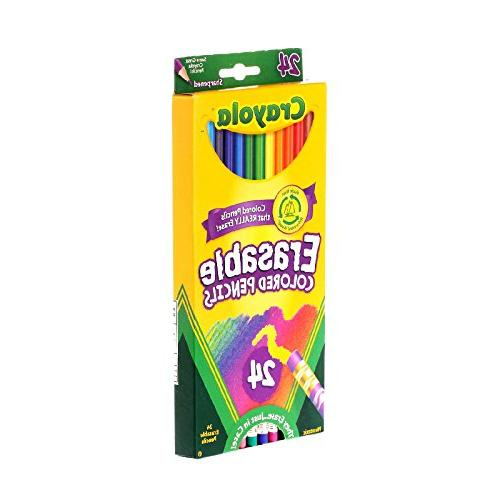 Crayola 24 Pre-Sharpened, Fully Erasable Set for Adult Books & Shading, &