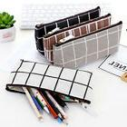 grid organizer canvas pencil case cosmetic pouch stationery