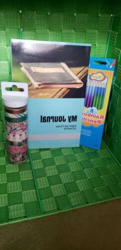 Journal notebook lined Diary 6x9 Washi Tape 9pk Tropical Col