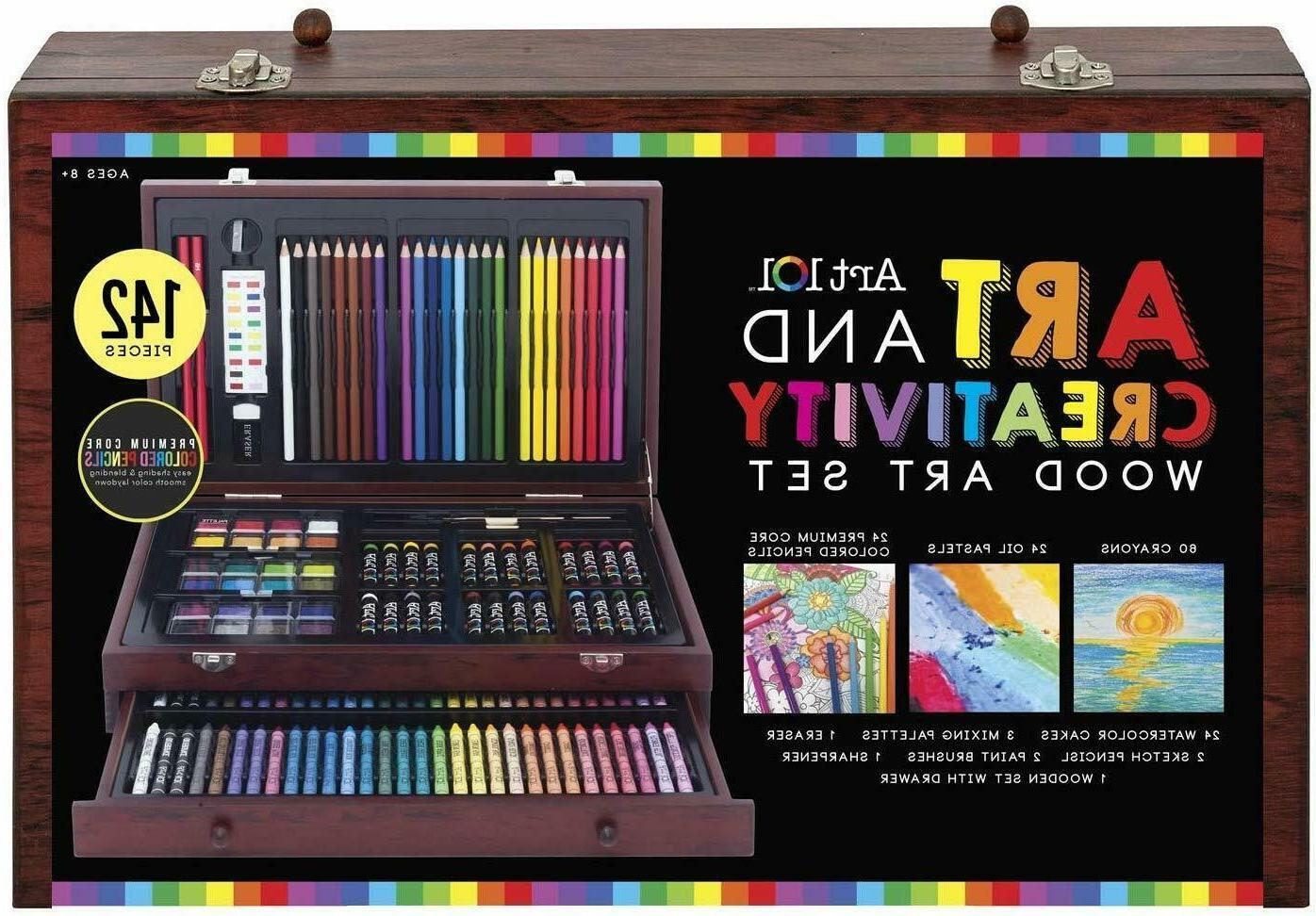 Large Drawing Set 142 Piece Pencil Pastel Color Draw Kit Sup