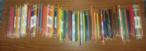 lot of 98 used colored pencils mixed
