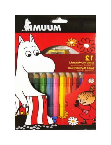 Moomin Jumbo Colored Pencils and Sharpener Nontoxic 12 pcs