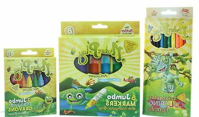 Nature Play Coloring Set Color Pencils Jumbo Crayons & Marke