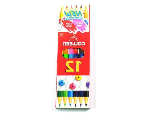 COLLEEN Neon Color Pencil Set 12 24 36 48 60 Colored Hexagon