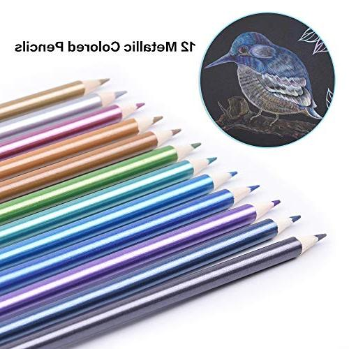 168 Colored metallic & Vibrant Art Colored Pencils Set for Adult Painting