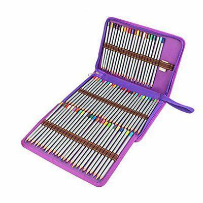 Soucolor Portable Canvas Zippered Colored Pencil Case-Super