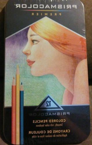 premier colored pencils 12 count in metal