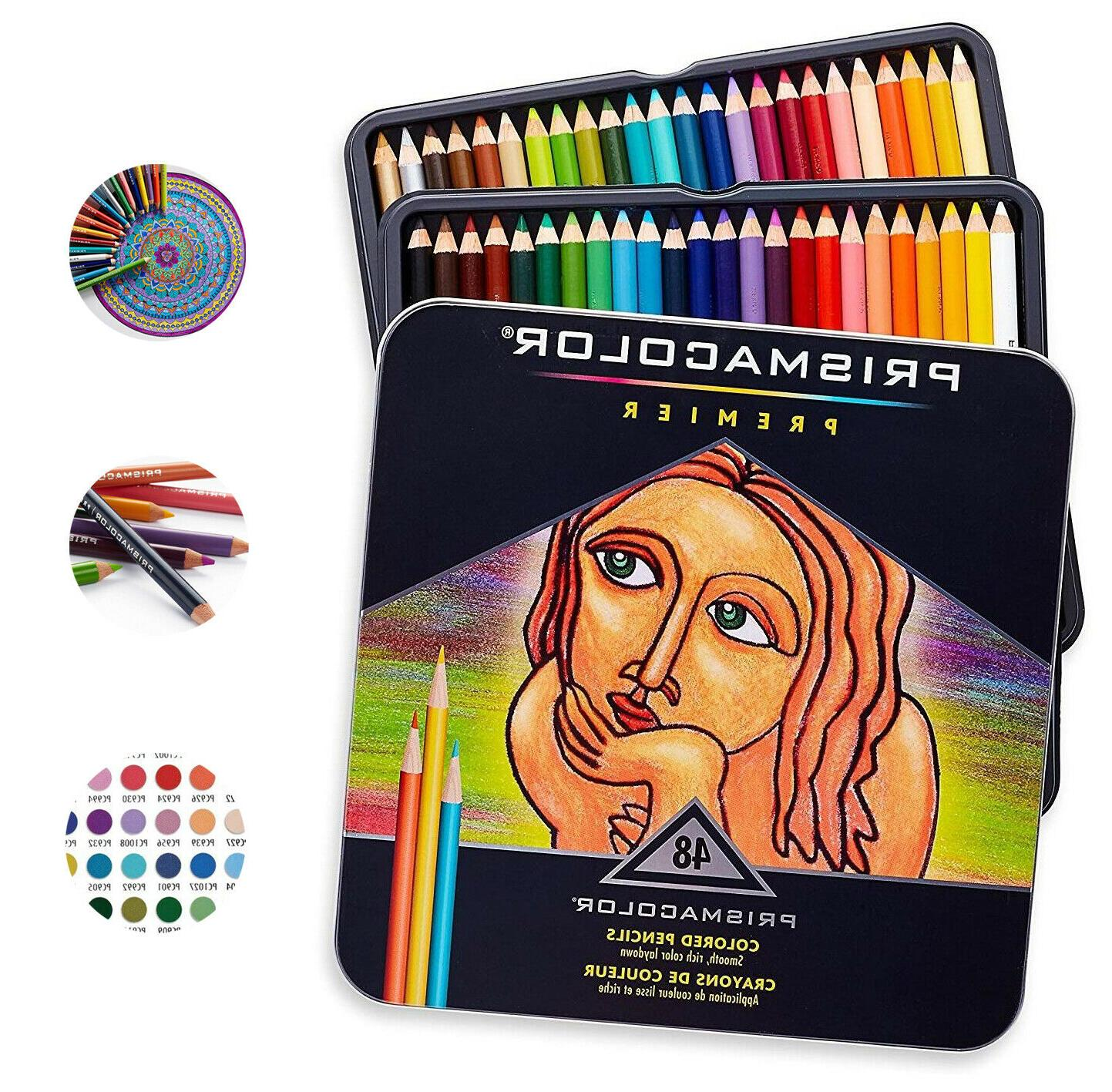Prismacolor Premier Soft Core Colored Pencils Tin Set of 48