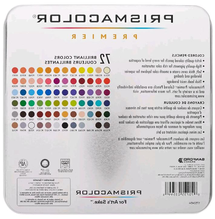 Prismacolor Soft Core, Artist Tin 72