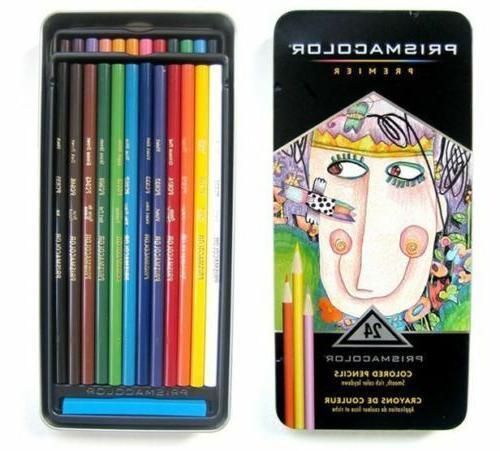 PRISMACOLOR Premier Colored Pencil Travel Tin Set 24 Soft Co
