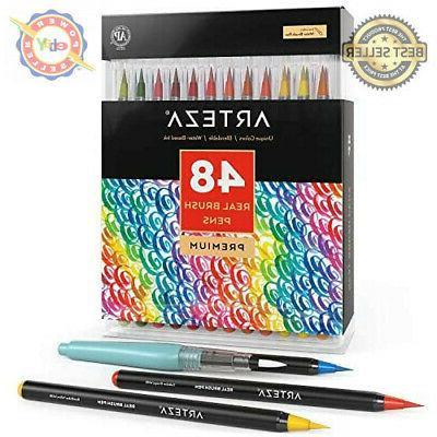 Arteza Real Brush Pens - 48-Colors - Watercolor Markers - Se