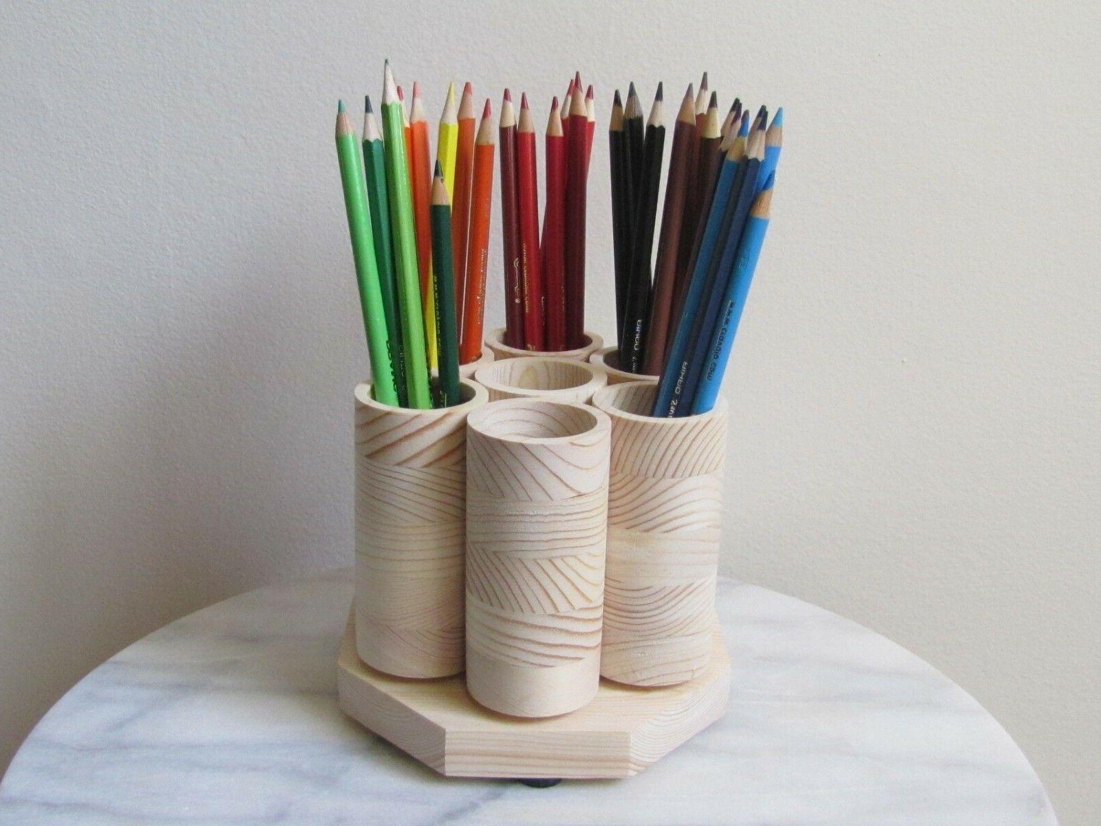 Rotating Desk Organizer, Holds 100 Pencils, Handmade USA