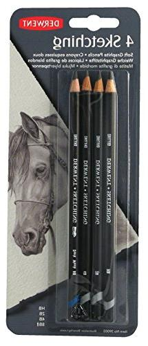 Derwent Sketching Pencils, 4mm Core, Pack, 4 Count