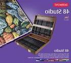 Derwent Studio 48 Fine Colour Pencils Wooden Box Set - Derwe