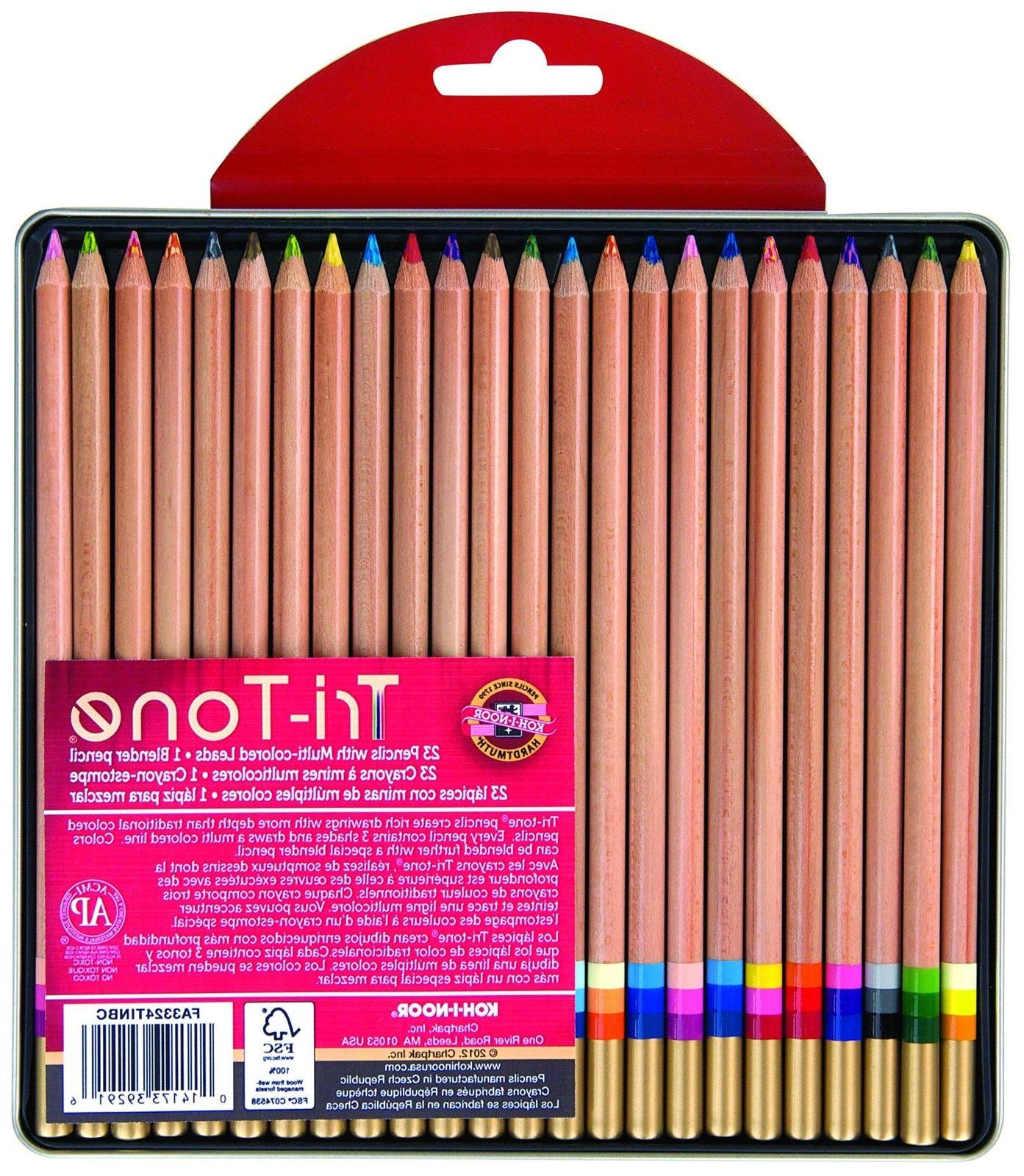 tri tone multi colored pencil set 24