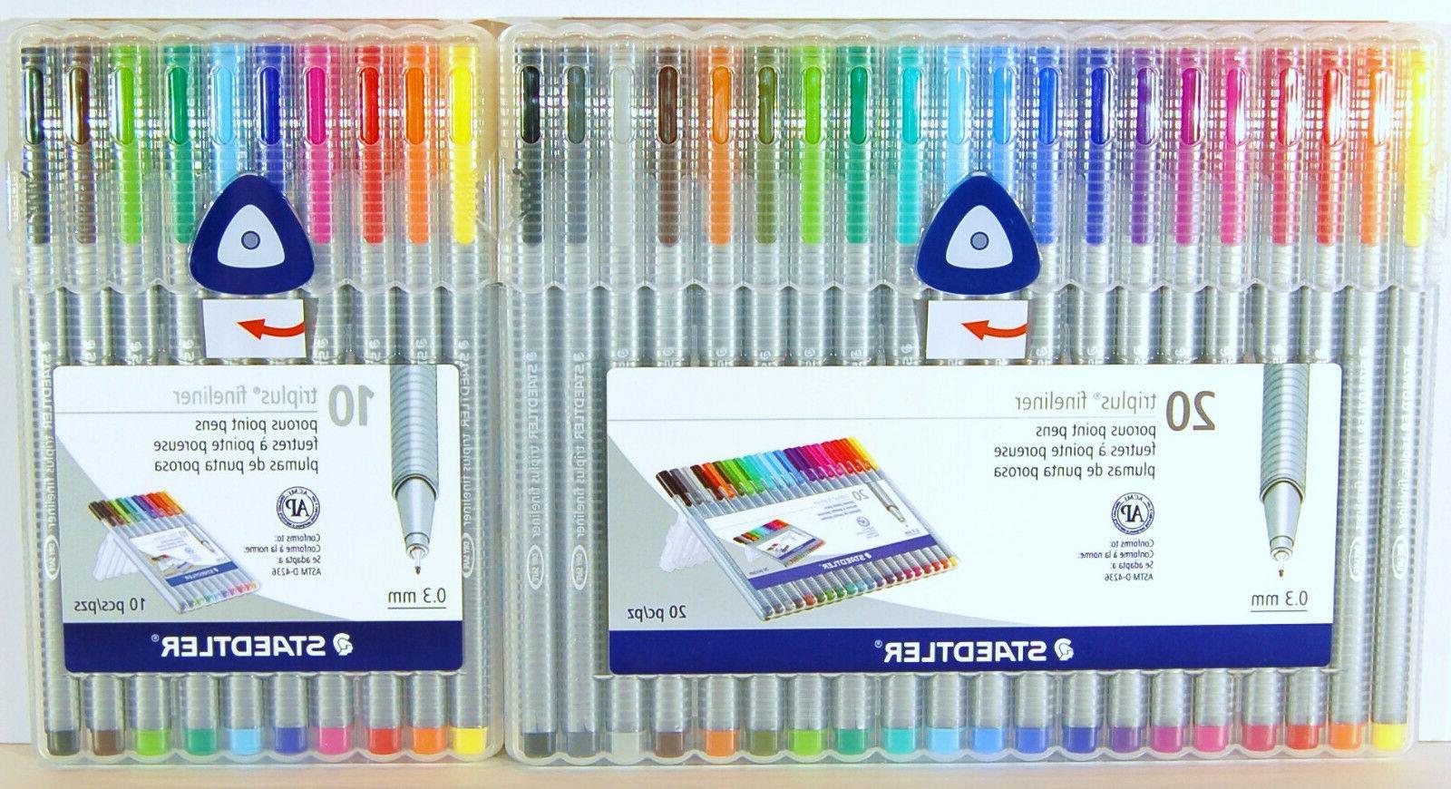 Staedtler Triplus Fineliner 0.3 mm Porous Point Pens 10 Colo