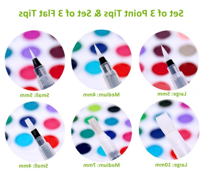 Ohuhu Water Coloring Brush Pens 6 Tips Water Pencils Solid Colors