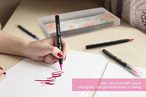 Watercolor Brush Pen, Ohuhu Water W/A Water Coloring Water Soluble for Coloring Books Manga Comic Calligraphy, Back Art