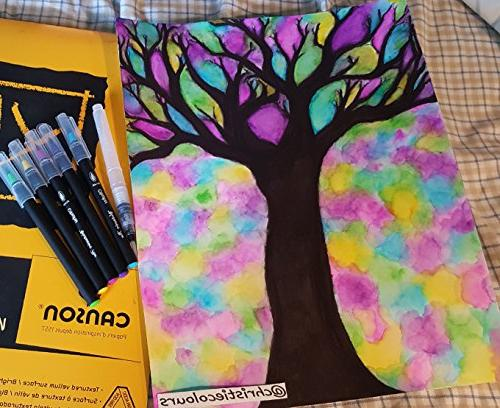 Watercolor Brush Pen, Ohuhu 48 W/A Water Coloring Water Coloring Calligraphy, School