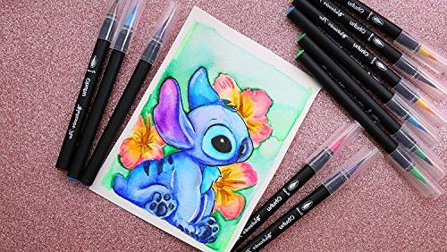 Watercolor Ohuhu Colors Water Based Drawing W/A Water Coloring Brush, Water Soluble Coloring Calligraphy, to