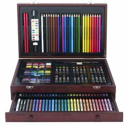 Large Drawing Set 142 Piece Pencil Pastel Color Draw Kit Sup