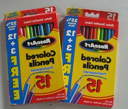 Lot of 2 - Rose Art 15 Colored Pencils Pre-sharpened 1081 Ar