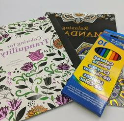 Lot Of 2 Adult Coloring Books + Box of Colored Pencils Manda